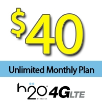 $40 H2O Wireless: UNLIMITED Talk, Text, Picture Messages, 8GB Data + $20 Int'l Credit