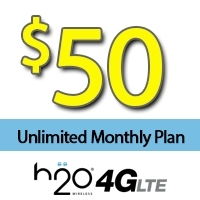$50 H2O Wireless: UNLIMITED Talk, Text, Picture Messages, 10GB Data + $20 Int'l Credit