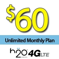 $60 H2O Wireless: UNLIMITED Talk, Text, & Data (12GB 4G LTE)+ $20 Int'l Credit