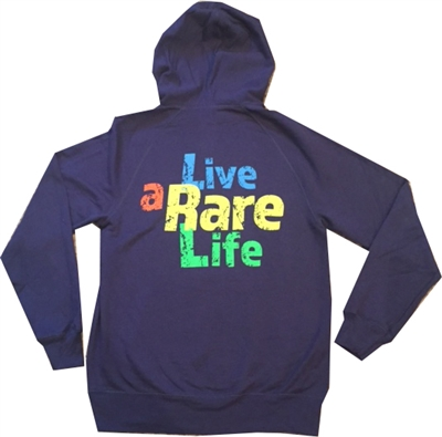 Blue Hooded sweatshirt with Live a Rare Life logo