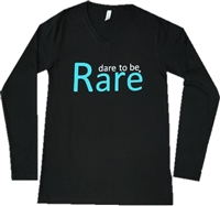 Long Sleeve Women's V Neck with teal dare to be Rare logo
