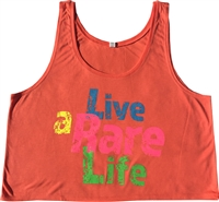 Flowy Boxy Tank Top with Live a Rare Life logo