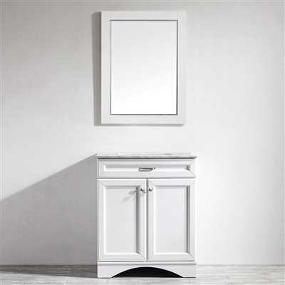Vinnova Naples 30-inch Vanity in White with Carrara White Marble Countertop with Mirror