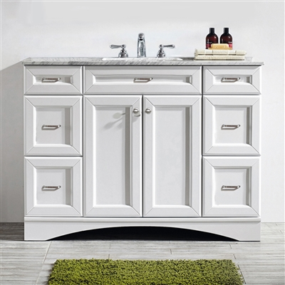 Vinnova Naples 48-inch Vanity in White with Carrara White Marble Countertop without Mirror