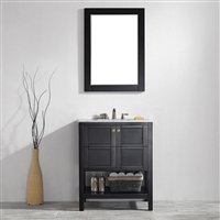 Vinnova Florence 30-inch Vanity in Espresso with Carrara White Marble Countertop With Mirror
