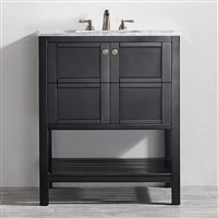 Vinnova Florence 30-inch Vanity in Espresso with Carrara White Marble Countertop Without Mirror
