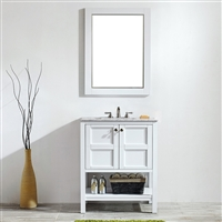 Vinnova Florence 30-inch Vanity in White with Carrara White Marble Countertop With Mirror