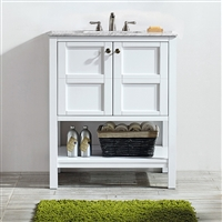 Vinnova Florence 30-inch Vanity in White with Carrara White Marble Countertop Without Mirror