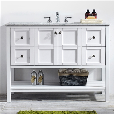 Vinnova Florence 48-inch Vanity in White with Carrara White Marble Countertop Without Mirror