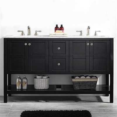 Vinnova Florence 60-inch Vanity in Espresso with Carrara White Marble Countertop Without Mirror