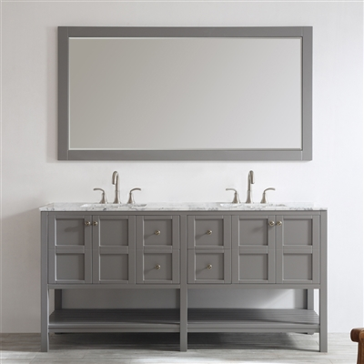 Vinnova Florence 72-inch Double Vanity in Grey with Carrara White Marble Countertop With Mirror