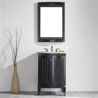 Vinnova Verona 24-inch Vanity in Espresso with Carrara White Marble Countertop with Mirror