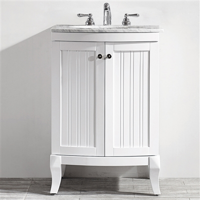 Vinnova Verona 24-inch Vanity in White with Carrara White Marble Countertop without Mirror
