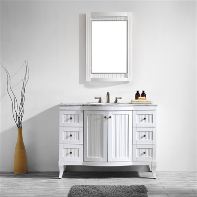 Vinnova Verona 48-inch Vanity in White with Carrara White Marble Countertop with Mirror