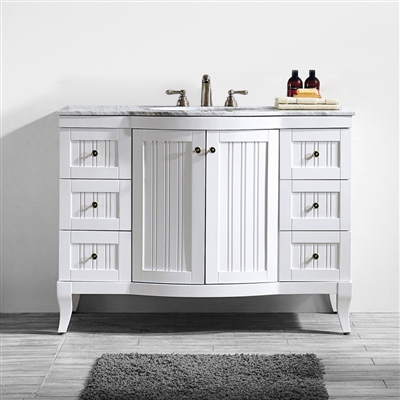 Vinnova Verona 48-inch Vanity in White with Carrara White Marble Countertop without Mirror