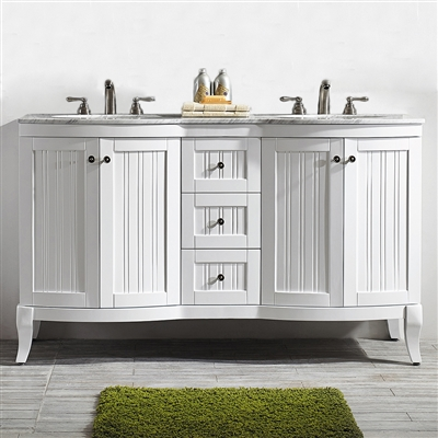 Vinnova Verona 60-inch Vanity in White with Carrara White Marble Countertop without Mirror