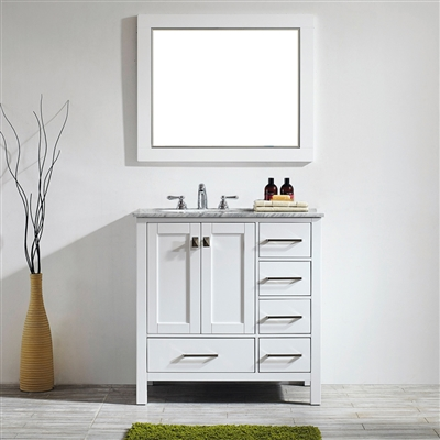 Vinnova Gela 36-inch Single Vanity in White with Carrara White Marble Countertop With Mirror