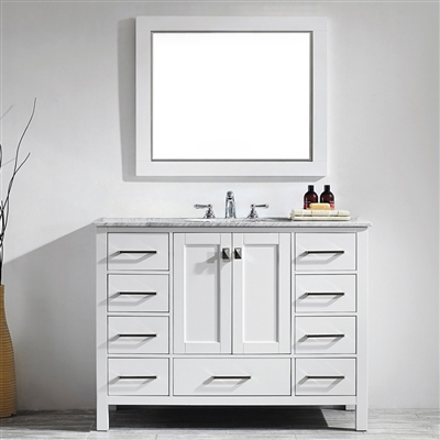 Vinnova Gela 48-inch Single Vanity in White with Carrara White Marble Countertop With Mirror