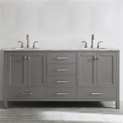Vinnova Gela 72-inch Double Vanity in Grey with Carrara White Marble Countertop Without Mirror