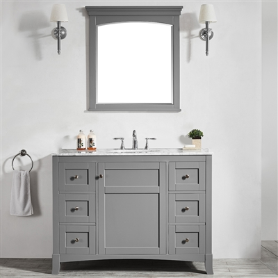 Vinnova Arezzo 48-inch Single Vanity in Grey with Carrara White Marble Top With Mirror