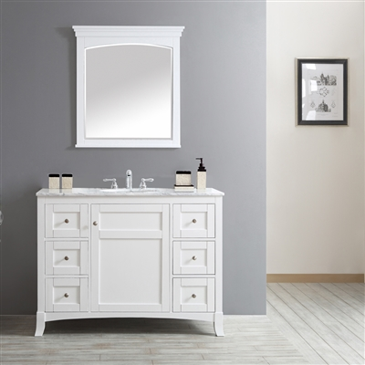 "Vinnova Arezzo 48"" Single Vanity in White with Carrara White Marble Top With Mirror"