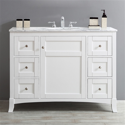 Vinnova Arezzo 48-inch Single Vanity in White with Carrara White Marble Top With Mirror