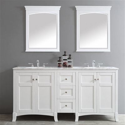 Vinnova Arezzo 72-inch Double Vanity in White with Carrara White Marble Top With Mirror