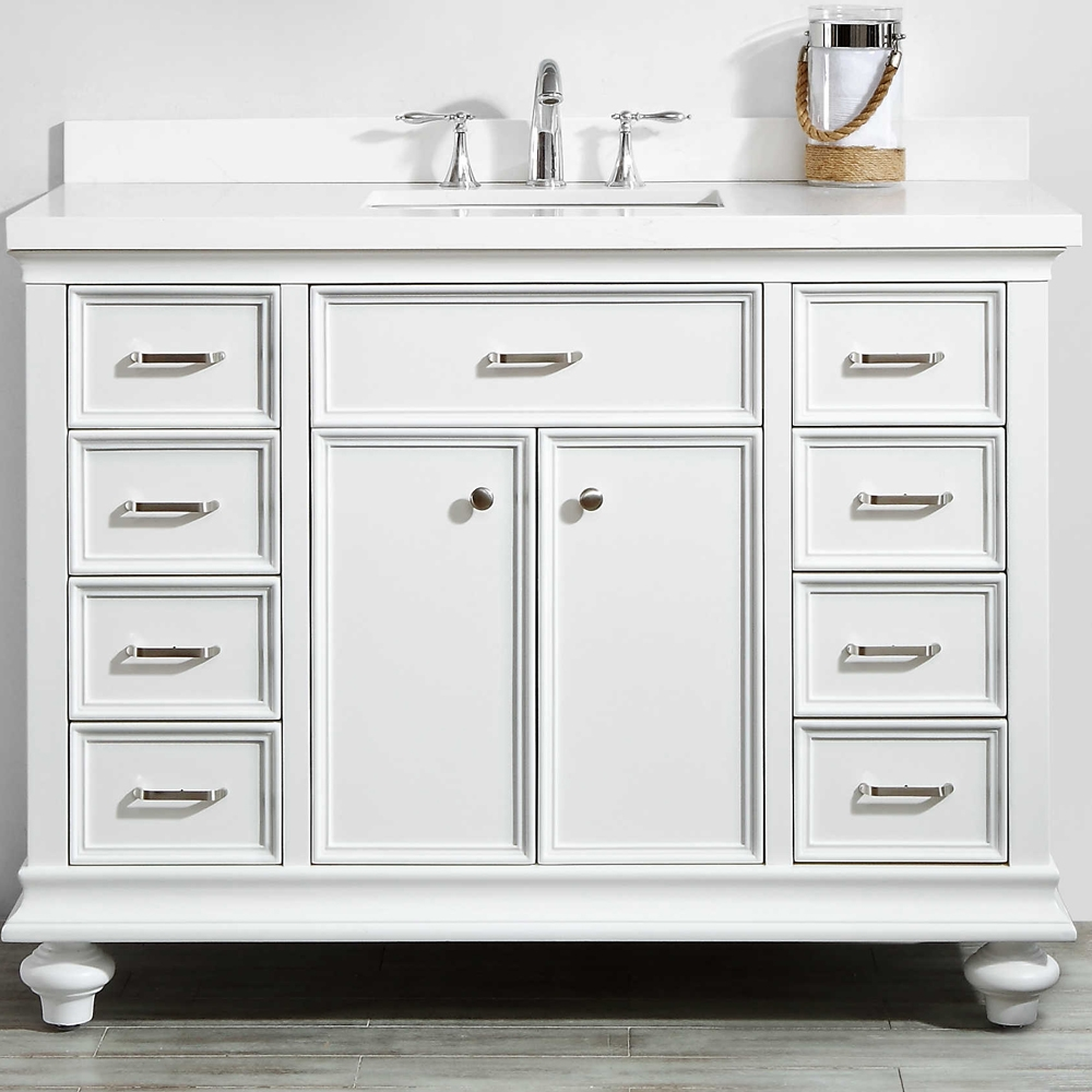 Vinnova Charlotte 48 Inch Vanity In White With Carrara Quartz Stone Top Without Mirror