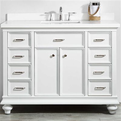 Vinnova Charlotte 48-inch Vanity in White with Carrara Quartz Stone Top Without Mirror