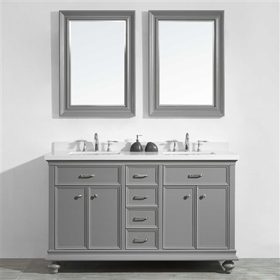 Vinnova Charlotte 60-inch Double Vanity in Grey with Carrara Quartz Stone Top With Mirror