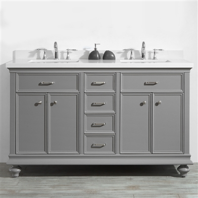 Vinnova Charlotte 60-inch Double Vanity in Grey with Carrara Quartz Stone Top Without Mirror