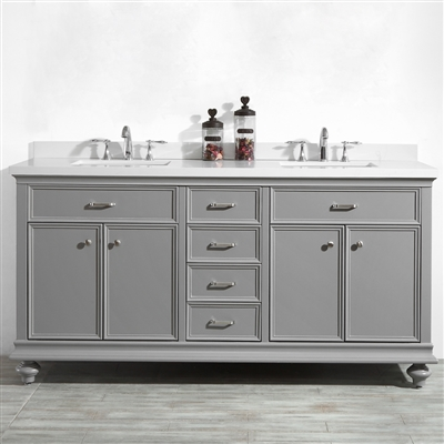 Vinnova Charlotte 72-inch Double Vanity in Grey with Carrara Quartz Stone Top Without Mirror