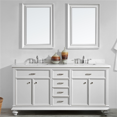 Vinnova Charlotte 72-inch Double Vanity in White with Carrara Quartz Stone Top With Mirror