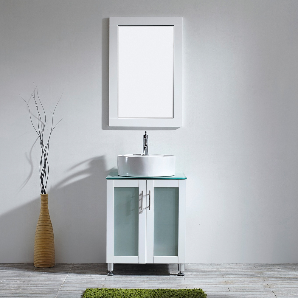 Vinnova Tuscany 24 Inch Vanity In White With Glass Countertop With