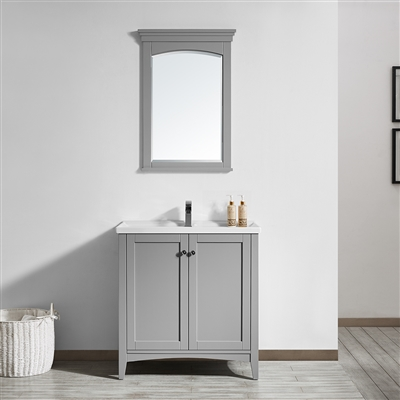 Vinnova Asti 30-inch Vanity in Grey with White Ceramic Countertop With Mirror