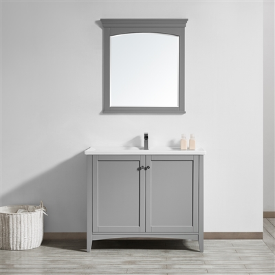 Vinnova Asti 40-inch Vanity in Grey with White Ceramic Countertop With Mirror