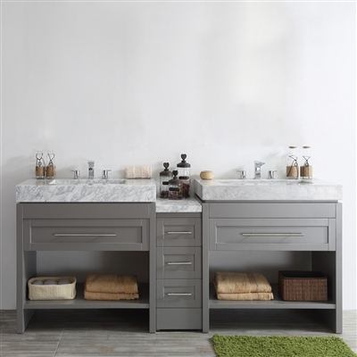 Vinnova Bolzana 84-inch Double Vanity in Grey with Carrara White Marble Top Without Mirror