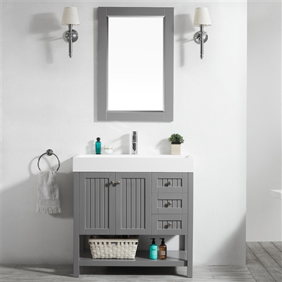Vinnova Pavia 36-inch Single Vanity in Grey with Acrylic under-mount Sink With Mirror