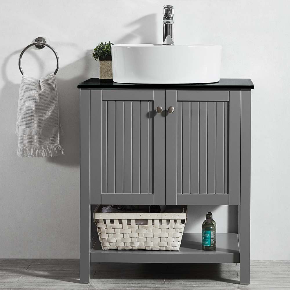 Vinnova Modena 28 Inch Vanity In Grey With Glass Countertop With White Vessel Sink Without Mirror