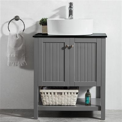 Vinnova Modena 28-inch Vanity in Grey with Glass Countertop with White Vessel Sink Without Mirror