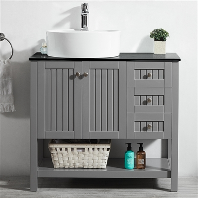 Vinnova Modena 36-inch Vanity in Grey with Glass Countertop with White Vessel Sink Without Mirror