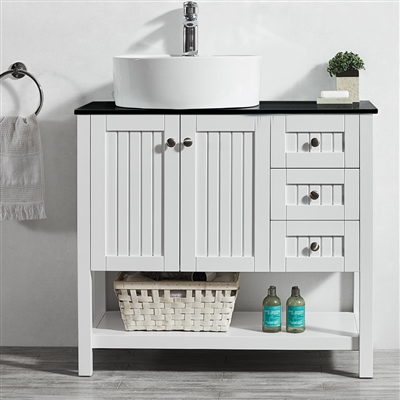 Vinnova Modena 36-inch Vanity in White with Glass Countertop with White Vessel Sink Without Mirror