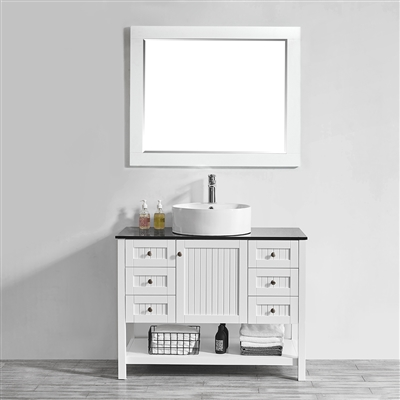 Vinnova Modena 42-inch Vanity in White with Glass Countertop with White Vessel Sink With Mirror