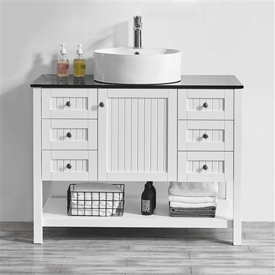 Vinnova Modena 42-inch Vanity in White with Glass Countertop with White Vessel Sink Without Mirror