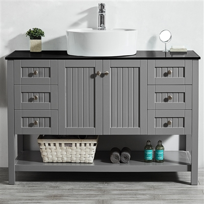 Vinnova Modena 48-inch Vanity in Grey with Glass Countertop with White Vessel Sink Without Mirror