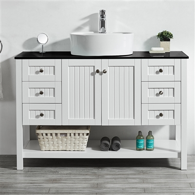 Vinnova Modena 48-inch Vanity in White with Glass Countertop with White Vessel Sink Without Mirror