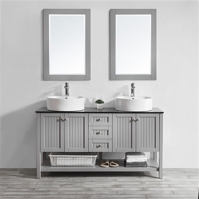 Vinnova Modena 60-inch Double Vanity in Grey with Glass Countertop with White Vessel Sink With Mirror