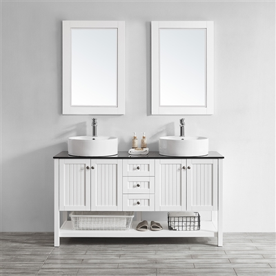 Vinnova Modena 60-inch Double Vanity in White with Glass Countertop with White Vessel Sink With Mirror