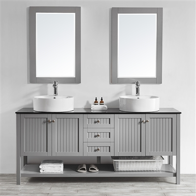 Vinnova Modena 72-inch Double Vanity in Grey with Glass Countertop with White Vessel Sink With Mirror