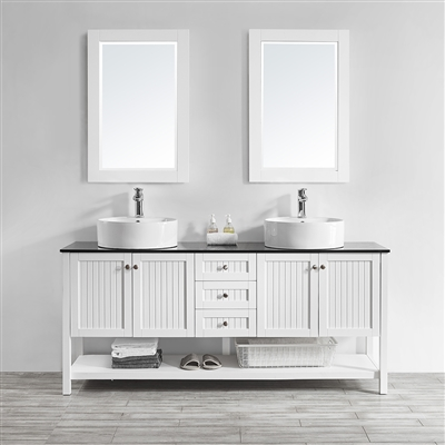 Vinnova Modena 72-inch Double Vanity in White with Glass Countertop with White Vessel Sink With Mirror